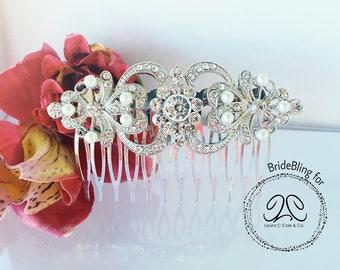 Venus- Pearl bridal hair comb, art deco bridal comb, crystal hair comb, bridal accessories, wedding hair comb, pearl wedding comb, art deco
