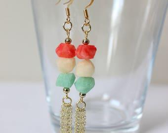 Gemstone Earrings,Turquoise Blue, Red & White,Pierced Earrings, dangle earrings, Everyday Jewelry, Nickel Free, 18k Gold Plated