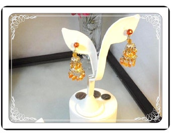 Orange Clipback Earrings - Dance of Spring  E3451a-120413000
