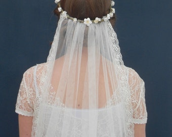 """Boho bridal flower crown veil - Daisy and Cherry Blossom bohemian crown with detachable veil in white or ivory - """"Battersea crown & veil"""""""