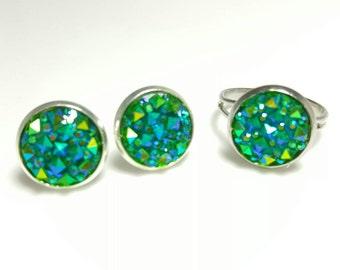 Green Yellow Druzy Jewelry Set, Green Druzy Ring & Druzy Earrings Set, Matching Druzy Jewelry, Green Blue Statement Ring