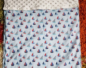 Beautiful blanket with Yachats/Boats Car seat size