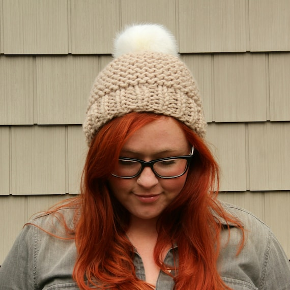 Faux Fur Pom Pom Textured Beanie Hat - Ecru and White