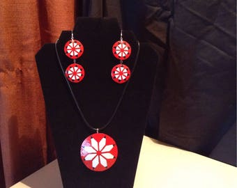 Choctaw star medallion gourd necklace pendant and earring set
