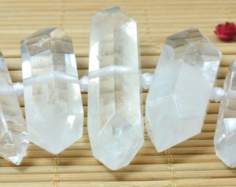 26 pcs of Natural Rock Crystal faceted point beads in 8-12mm x 22-40mm