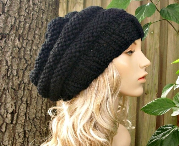 Knit Hat Womens Hat Slouchy Beanie - Oversized Beehive Beret Hat in Black Knit Hat - Black Hat Black Beret Black Beanie - 34 Color Choices