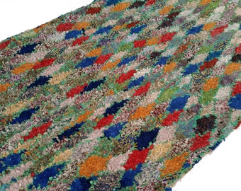 """114""""X63"""" Vintage Moroccan rug woven by hand from scraps of fabric / boucherouite / boucherouette"""