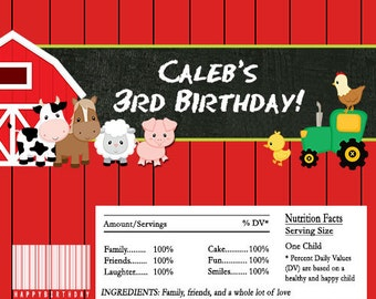 Farm Animals Chalkboard Candy Bar Wrappers INSTANT DOWNLOAD Editable