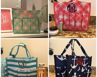 Carry All Tote - Personalized Gifts - Multipocket Nurse Utility Tote -  Monogram Caddy - Gardening Gift for Mom - Various Colors - Monogram