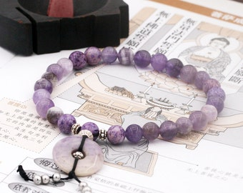 Pacifying wrist mala (stretchable) - amethyst, fossil and jasper donut