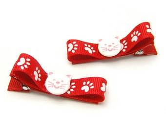 Kitty Hair Clips, Cat Tuxedo Bows, Paw Print Cat Clips, White and Red Kitty Hair Bow, Baby, Toddler, Girls,