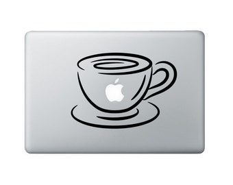 Coffee Cup Macbook Decal - Coffee Laptop Decal - Laptop Sticker