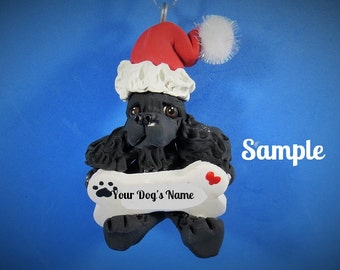Black Cocker Spaniel Santa Dog Christmas Holidays Bone Ornament Sally's Bits of Clay PERSONALIZED FREE with dog's name