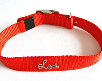 Dog collar, red, customized, Love