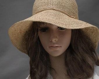 crocheted hat, raffia hat, straw sun hat, wide brim sun hat,floppy sun hat