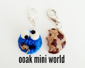 Polymer clay cookie monster bff charms
