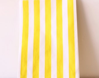 Yellow Stripe Candy Bags Medium, Yellow Stripe Wedding Candy Favor Bag, Yellow Party Treat Bag, Yellow Gift Bag, Yellow Candy Bags