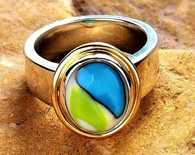 Enchanted Memorial Ring in Silver or 14k Gold or mixed metals,Ashes in Glass, Pet Memorial. Cremation Jewelry