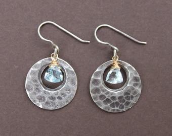 Hammered Thai Silver Loop Trillion Cut Swiss Blue Topaz Briolette Oxidized Sterling Silver Dangle Earrings
