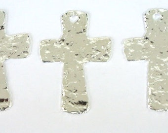 Pewter Hammered Cross Charm for Making Jewelry set of 3  - 1 Hole