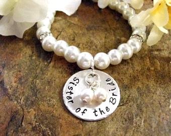 Sister of the Bride Pearl Bracelet, Sister Wedding Bracelet, Bridal Bracelet, Sister of the Bride Jewelry