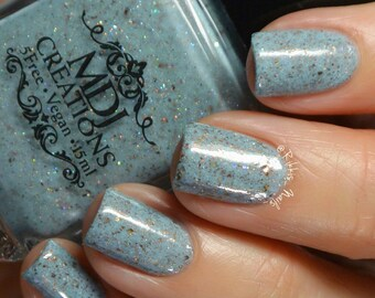 Michelangelo ~ Multichromatic Gold Bronze Silver Flakie Turquoise Crelly Indie Nail Polish by MDJ Creations