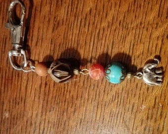 Keyring with elephant beads