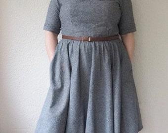 peter pan collar dress in grey- womens retro clothing