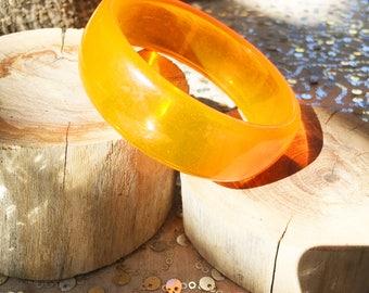 Vintage Orange Acrylic Bangle Bracelet