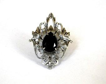 Large Gothic Ring - Black Swarovski Ring - Silver Statement Ring - Fantasy Ring - Gothic Ring - Gothic Jewelry