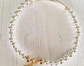 Charm Bracelet | Sterling Silver & Gold Bead Bracelet with Gold Star Charm
