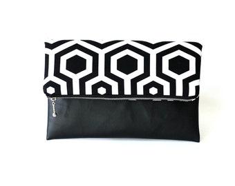Black and White Fold Over Clutch, Geometric Clutch Bag, Zippered foldover bag