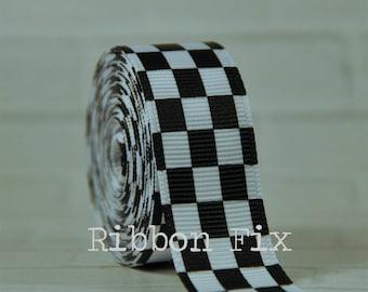 "2+ yards 3/8"", 7/8"", or 1.5"" White & Black Checker Print Grosgrain Ribbon - US Designer - Checkered Flag Bow - Racing Bows - Race Car Party"