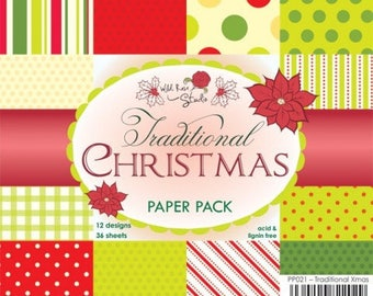 two pockets 15.2 36 papers x 15.2 cm Wild TRADITIONAL CHRISTMAS Rose