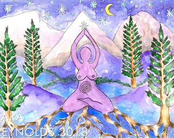 Goddess Art Fantasy Art Original Watercolor Painting Pagan Art Goddess Wall Art Earth Goddess Divine Feminine Spiritual Art Altar Art