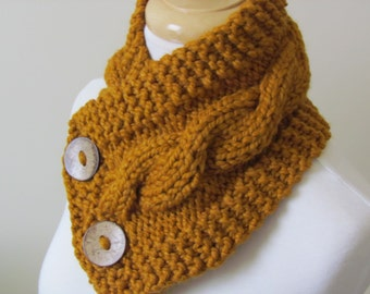 """Knit Neck Warmer, Cable Knit Scarf,  Chunky Warm Winter Scarf in Butterscotch 6"""" x 25""""  Ready to Ship - Direct Checkout - Gift for Her"""