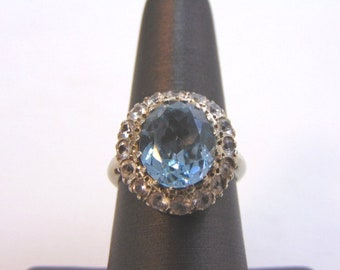 Womens Vintage Estate 14K White Gold Topaz Ring 5.6g E1885
