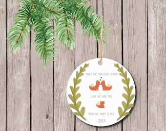Christmas Ornament Baby's First Christmas, Baby's First Christmas Ornament, Fox Ornament, Baby Shower Gift, Ornament First Christmas Baby