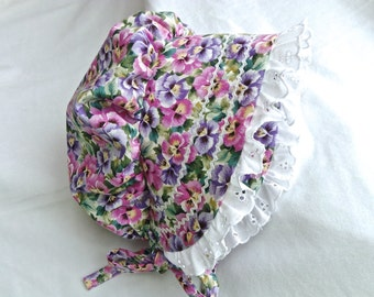 12 -18 months Bonnet Baby Toddler Sunhat Hat in Purple and Pink Pansies