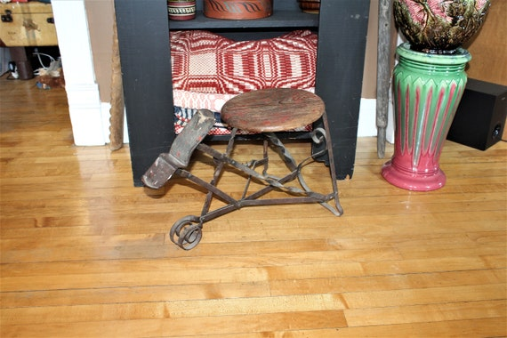 Antique Shoe Fitting and Shining Stool Bench 1800s Smiths Wrought Iron
