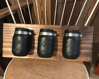 Set of 3 Pint Size Mason Jar Wall Decor. Wall Hanging. Rustic Home Decor. Rustic Housewares. Farmhouse Decor. Mason Jars. Painted Mason Jars