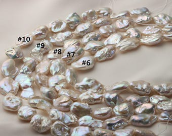 Super Large White Nucleated Pearl with metallic tone, Large Baroque Pearl String, Irregular Loose Pearl Strand