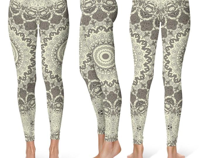 Cream Leggings Yoga Pants, Printed Yoga Tights for Women, Beige and Brown Mandala Pattern