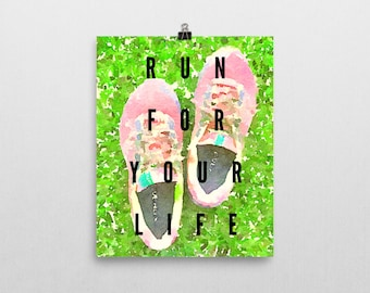 8x10 artwork, DIGITAL, PRINTABLE, instant, run, running, shoes, grass, watercolor, painting, typography, poster, health, life, gift, quote