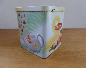 Liptons Fruit Teas Container, Storage Tin, Lidded Storage Container 1117041-474