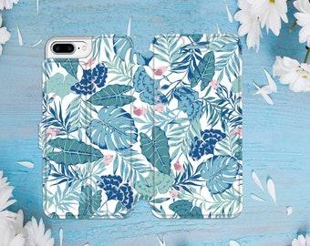 Floral iPhone 7 Wallet Case iPhone 8 Plus Case iPhone 7 Plus Case iPhone 8 Case iPhone 7 Case Leather Wallet iPhone Wallet Case Leaf CGD2094