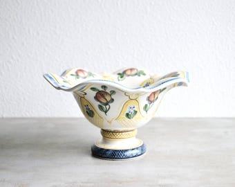 Antique Royal Copenhagen Aluminia Faience Pedestal Bowl