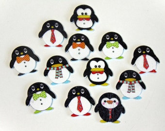 8 Baby Penguin Wooden Buttons #EB23