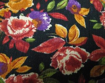 3 1/3 Yd crinkle rayon, black with pumpkin, peach, red, purple floral design