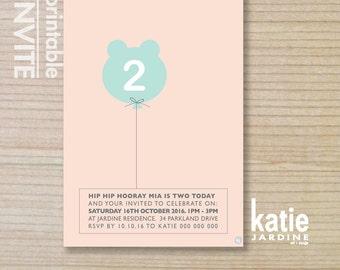 girls invitation - kids invitation  - printable invitation - bear balloon - pink - purple